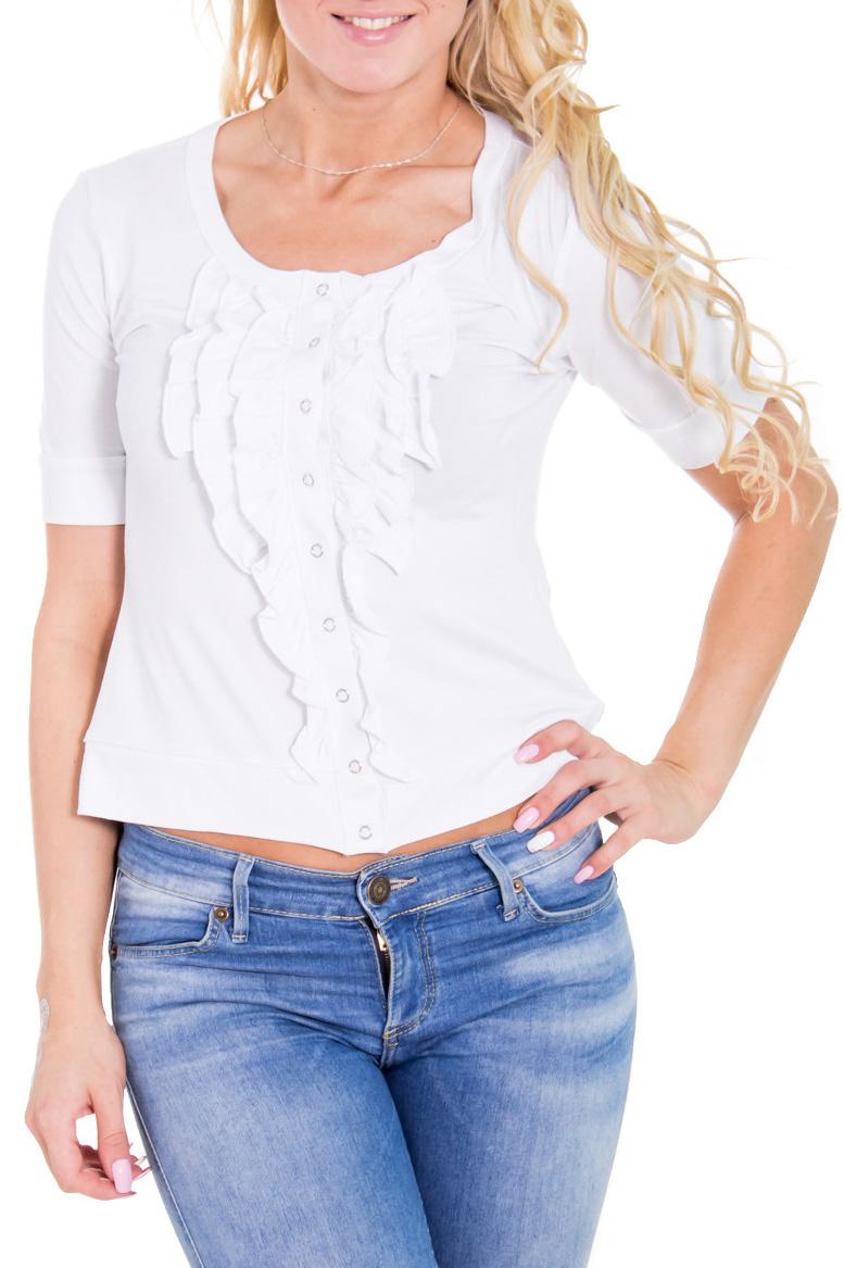 БлузкаБлузки<br>Романтичная женская блузка из приятной телу вискозы. Цвет: белый.  Рост девушки-фотомодели 170 см<br><br>Горловина: С- горловина<br>По материалу: Вискоза,Трикотаж<br>По рисунку: Однотонные<br>По сезону: Весна,Всесезон,Зима,Лето,Осень<br>По силуэту: Приталенные<br>По стилю: Кэжуал,Повседневный стиль,Летний стиль<br>По элементам: С воланами и рюшами,С декором,С отделочной фурнитурой<br>Рукав: До локтя,Короткий рукав<br>Размер : 44,46,48<br>Материал: Вискоза<br>Количество в наличии: 12