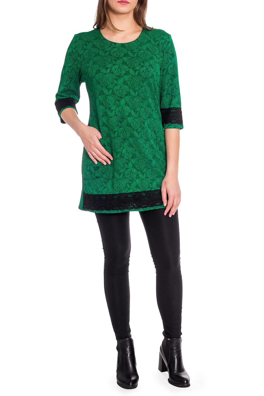 БлузкаБлузки<br>Удлиненная блузка с круглой горловиной и рукавами 3/4. Модель выполнена из приятного трикотажа с декором из гипюра. Отличный выбор для любого случая.  В изделии использованы цвета: зеленый, черный  Рост девушки-фотомодели 173 см.<br><br>Горловина: С- горловина<br>По материалу: Трикотаж<br>По рисунку: Растительные мотивы,С принтом,Цветные,Цветочные<br>По сезону: Весна,Зима,Лето,Осень,Всесезон<br>По силуэту: Полуприталенные<br>По стилю: Нарядный стиль,Повседневный стиль<br>По элементам: С декором<br>Рукав: Рукав три четверти<br>Размер : 52,54,56,58<br>Материал: Трикотаж<br>Количество в наличии: 4