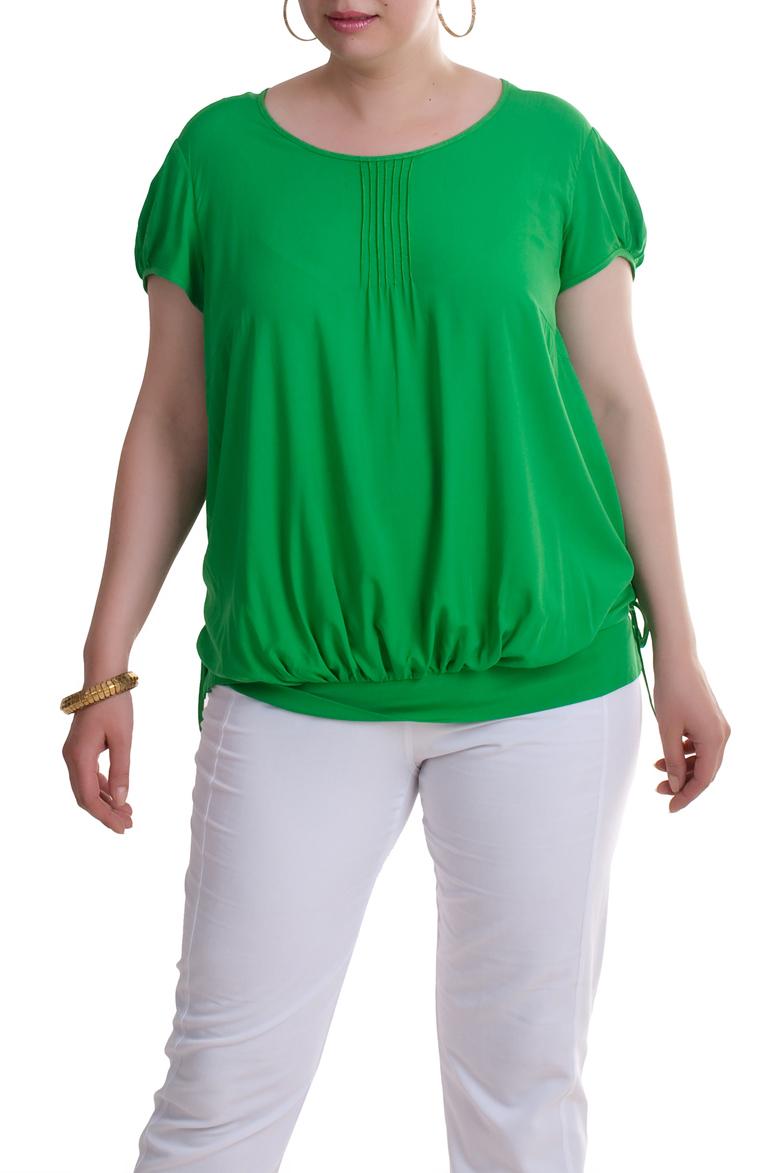 БлузкаБлузки<br>Прекрасная блузка с круглой горловиной и короткими рукавами. Модель выполнена из приятного материала. Отличный выбор для любого случая.  Цвет: зеленый  Рост девушки-фотомодели 173 см<br><br>Горловина: С- горловина<br>По материалу: Вискоза<br>По рисунку: Однотонные<br>По сезону: Весна,Всесезон,Зима,Лето,Осень<br>По силуэту: Свободные<br>По стилю: Повседневный стиль<br>Рукав: Короткий рукав<br>Размер : 52,62,66,68<br>Материал: Вискоза<br>Количество в наличии: 5