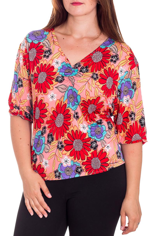 БлузкаБлузки<br>Цветная блузка с рукавами до локтя. Модель выполнена из приятного материала. Отличный выбор для повседневного гардероба.  В изделии использованы цвета: коралловый, красный, голубой, сиреневый  Рост девушки-фотомодели 180 см.<br><br>Горловина: V- горловина<br>По материалу: Трикотаж<br>По образу: Город<br>По рисунку: С принтом,Цветные,Цветочные<br>По сезону: Весна,Зима,Лето,Осень,Всесезон<br>По силуэту: Полуприталенные<br>По стилю: Повседневный стиль<br>Рукав: До локтя<br>Размер : 54<br>Материал: Холодное масло<br>Количество в наличии: 2