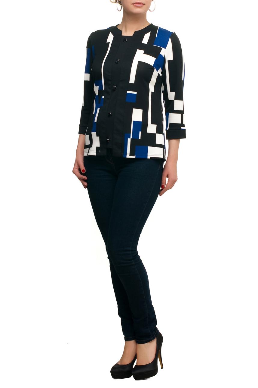 БлузкаБлузки<br>Цветная блузка с рукавами 3/4. Модель выполнена из приятного трикотажа. Отличный выбор для любого случая.  В изделии использованы цвета: черный, синий, белый.  Рост девушки-фотомодели 173 см<br><br>Горловина: Фигурная горловина<br>По материалу: Трикотаж<br>По рисунку: Геометрия,С принтом,Цветные<br>По сезону: Весна,Зима,Лето,Осень,Всесезон<br>По силуэту: Прямые<br>По стилю: Повседневный стиль<br>Рукав: Рукав три четверти<br>Размер : 48,50,52,54,56,58,60,62,64,66,68,70<br>Материал: Трикотаж<br>Количество в наличии: 21