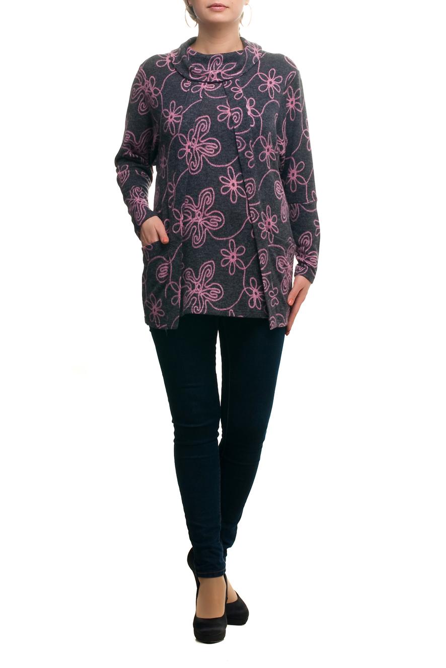 ТуникаТуники<br>Цветная туника с объемным воротником и длинными рукавами. Модель выполнена из плотного трикотажа. Отличный выбор для любого случая.   В изделии использованы цвета: серый, розовый  Рост девушки-фотомодели 173 см.<br><br>По материалу: Трикотаж<br>По рисунку: Растительные мотивы,С принтом,Цветные,Цветочные<br>По сезону: Осень,Зима<br>По силуэту: Полуприталенные<br>По стилю: Повседневный стиль<br>По элементам: С карманами<br>Рукав: Длинный рукав<br>Размер : 48,50,64,68<br>Материал: Трикотаж<br>Количество в наличии: 5