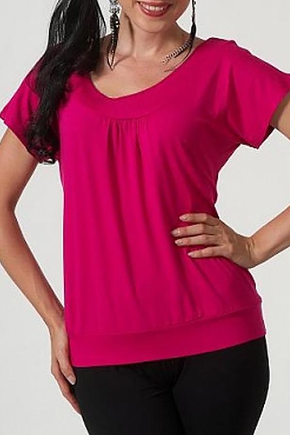 БлузкаБлузки<br>Однотонная блузка с круглой горловиной и короткими рукавами. Модель выполнена из приятного материала. Отличный выбор для любого случая.  Цвет: розовый  Параметры (обхват груди; обхват талии; обхват бедер): 44 размер - 88; 66,4; 96 см 46 размер - 92; 70,6; 100 см 48 размер - 96; 74,2; 104 см 50 размер - 100; 90; 106 см 52 размер - 104; 94; 110 см 54-56 размер - 108-112; 98-102; 114-118 см 58-60 размер - 116-120; 106-110; 124-130 см<br><br>Горловина: С- горловина<br>По материалу: Вискоза<br>По образу: Город,Свидание<br>По рисунку: Однотонные<br>По сезону: Весна,Зима,Лето,Всесезон<br>По силуэту: Полуприталенные<br>По стилю: Повседневный стиль<br>По элементам: С декором,С открытой спиной<br>Рукав: Короткий рукав<br>Размер : 46<br>Материал: Вискоза<br>Количество в наличии: 1