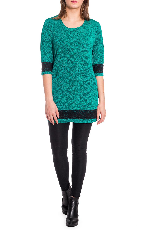 БлузкаБлузки<br>Удлиненная блузка с круглой горловиной и рукавами 3/4. Модель выполнена из приятного трикотажа с декором из гипюра. Отличный выбор для любого случая.  В изделии использованы цвета: бирюзовый, черный  Рост девушки-фотомодели 173 см.<br><br>Горловина: С- горловина<br>По материалу: Трикотаж<br>По рисунку: Растительные мотивы,С принтом,Цветные,Цветочные<br>По сезону: Весна,Зима,Лето,Осень,Всесезон<br>По силуэту: Полуприталенные<br>По стилю: Нарядный стиль,Повседневный стиль<br>По элементам: С декором<br>Рукав: Рукав три четверти<br>Размер : 50,54,56<br>Материал: Трикотаж<br>Количество в наличии: 3