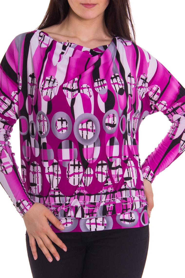 БлузкаБлузки<br>Женская блузка с горловиной качель и длинными рукавами. Модель выполнена из приятного материала. Отличный вариант для повседневного гардероба.  За счет свободного кроя и эластичного материала изделие можно носить во время беременности  Рост девушки-фотомодели - 180 см  Цвет: серый, фиолетовый, розовый<br><br>Горловина: Качель<br>По материалу: Вискоза,Трикотаж<br>По образу: Город<br>По рисунку: Абстракция,Цветные,С принтом<br>По сезону: Весна,Осень,Зима,Лето,Всесезон<br>По силуэту: Полуприталенные<br>Рукав: Длинный рукав<br>По стилю: Повседневный стиль<br>Размер : 46<br>Материал: Вискоза<br>Количество в наличии: 1