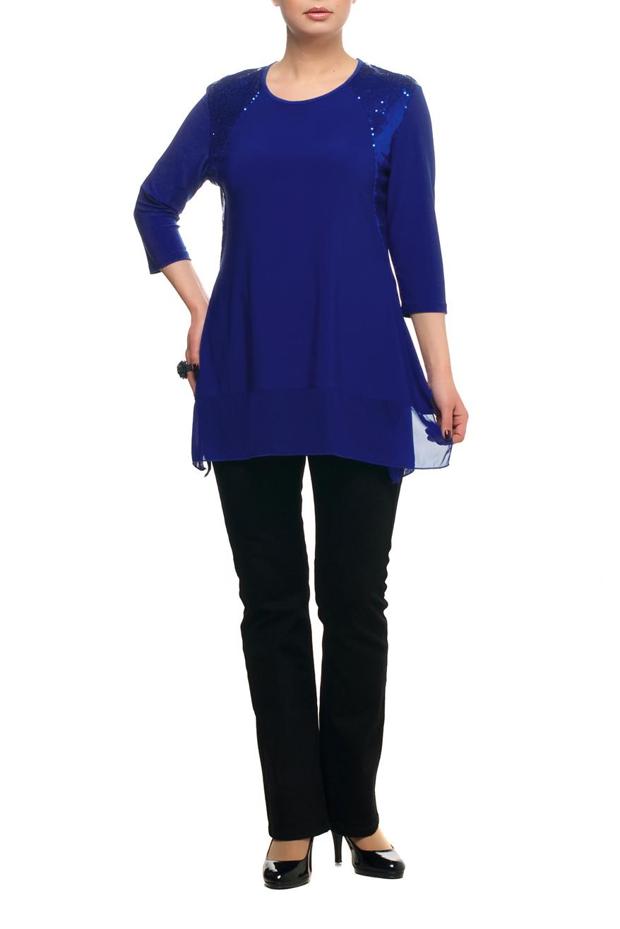 ТуникаТуники<br>Нарядная туника с круглой горловиной и рукавами 3/4. Модель выполнена из струящегося трикотажа с подолом из воздушного шифона. Отличный выбор для любого торжества.   В изделии использованы цвета: синий  Рост девушки-фотомодели 173 см.<br><br>Горловина: С- горловина<br>По материалу: Трикотаж,Шифон<br>По рисунку: Однотонные<br>По сезону: Весна,Зима,Лето,Осень,Всесезон<br>По силуэту: Полуприталенные<br>По стилю: Нарядный стиль<br>По элементам: С декором<br>Рукав: Рукав три четверти<br>Размер : 50,56,58,60,66<br>Материал: Холодное масло + Шифон<br>Количество в наличии: 6