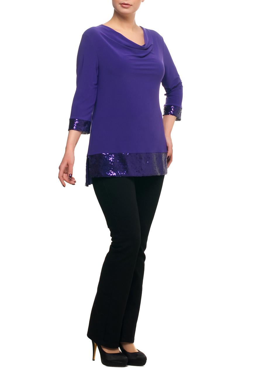 БлузкаБлузки<br>Нарядная блузка с горловиной quot;качельquot; и рукавами 3/4. Модель выполнена из струящегося трикотажа с декором из пайеток. Отличный выбор для любого торжества.   В изделии использованы цвета: фиолетовый  Рост девушки-фотомодели 173 см.<br><br>Горловина: Качель<br>По материалу: Трикотаж<br>По рисунку: Однотонные<br>По сезону: Весна,Зима,Лето,Осень,Всесезон<br>По силуэту: Полуприталенные<br>По стилю: Нарядный стиль,Вечерний стиль<br>По элементам: С декором<br>Рукав: Рукав три четверти<br>Размер : 48,50,52,54,58,60,64,68,70<br>Материал: Холодное масло<br>Количество в наличии: 9
