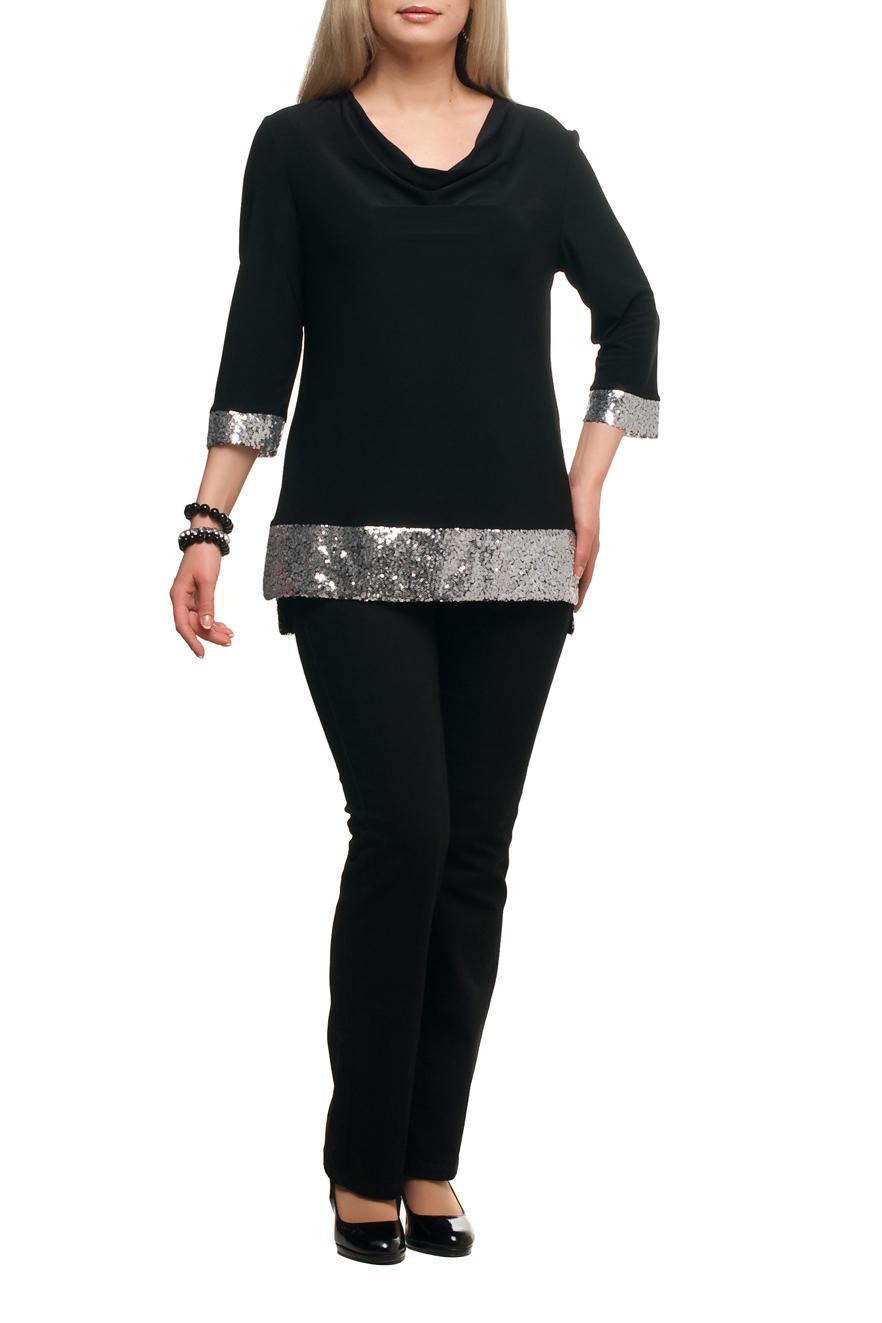 БлузкаБлузки<br>Нарядная блузка с горловиной качель и рукавами 3/4. Модель выполнена из струящегося трикотажа с декором из пайеток. Отличный выбор для любого торжества.   В изделии использованы цвета: черный, серебряный  Рост девушки-фотомодели 173 см.<br><br>Горловина: Качель<br>По материалу: Трикотаж<br>По рисунку: Цветные<br>По сезону: Весна,Зима,Лето,Осень,Всесезон<br>По силуэту: Полуприталенные<br>По стилю: Нарядный стиль,Вечерний стиль<br>По элементам: С декором<br>Рукав: Рукав три четверти<br>Размер : 48,50,54,62,64<br>Материал: Холодное масло<br>Количество в наличии: 5