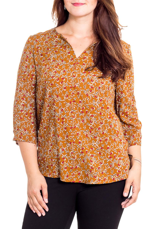БлузкаБлузки<br>Цветная блузка с V-образной горловиной и рукавами 3/4. Модель выполнена из приятного материала. Отличный выбор для повседневного гардероба.  В изделии использованы цвета: горчичный и др.  Рост девушки-фотомодели 180 см.<br><br>Горловина: V- горловина<br>По материалу: Вискоза<br>По рисунку: С принтом,Цветные<br>По сезону: Весна,Зима,Лето,Осень,Всесезон<br>По силуэту: Полуприталенные<br>По стилю: Повседневный стиль<br>Рукав: Рукав три четверти<br>Размер : 48,50,52,54<br>Материал: Вискоза<br>Количество в наличии: 8