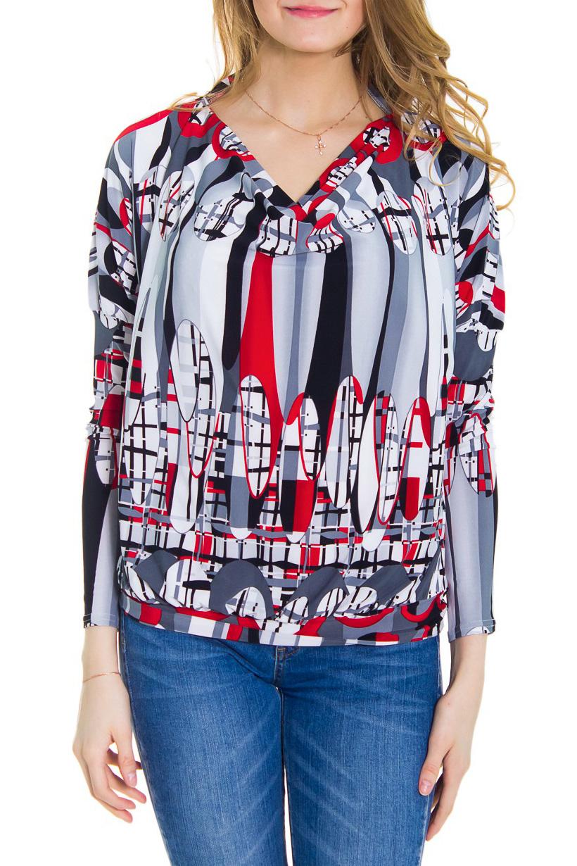 БлузкаБлузки<br>Женская блузка с горловиной качель и длинными рукавами. Модель выполнена из приятного материала. Отличный вариант для повседневного гардероба.  За счет свободного кроя и эластичного материала изделие можно носить во время беременности  Рост девушки-фотомодели - 176 см  Цвет: серый, красный<br><br>Горловина: Качель<br>По материалу: Вискоза,Трикотаж<br>По рисунку: Абстракция,Цветные,С принтом<br>По сезону: Весна,Осень,Зима,Лето,Всесезон<br>Рукав: Длинный рукав<br>По стилю: Повседневный стиль<br>По силуэту: Приталенные<br>Размер : 44<br>Материал: Вискоза<br>Количество в наличии: 1