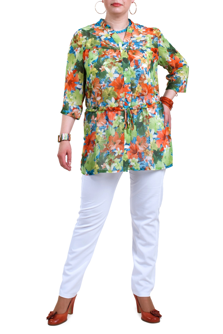 БлузкаБлузки<br>Яркая блузка с рукавами 3/4. Модель выполнена из приятного материала. Отличный выбор для любого случая.  В изделии использованы цвета: зеленый, оранжевый и др.  Рост девушки-фотомодели 173 см.<br><br>Горловина: V- горловина,Фигурная горловина<br>По материалу: Блузочная ткань,Тканевые<br>По рисунку: Растительные мотивы,С принтом,Цветные,Цветочные<br>По сезону: Весна,Зима,Лето,Осень,Всесезон<br>По силуэту: Прямые<br>По стилю: Повседневный стиль,Летний стиль<br>По элементам: С поясом<br>Рукав: Рукав три четверти<br>Застежка: С пуговицами<br>Размер : 52,54,58,60,62,64,66,68,70<br>Материал: Блузочная ткань<br>Количество в наличии: 9