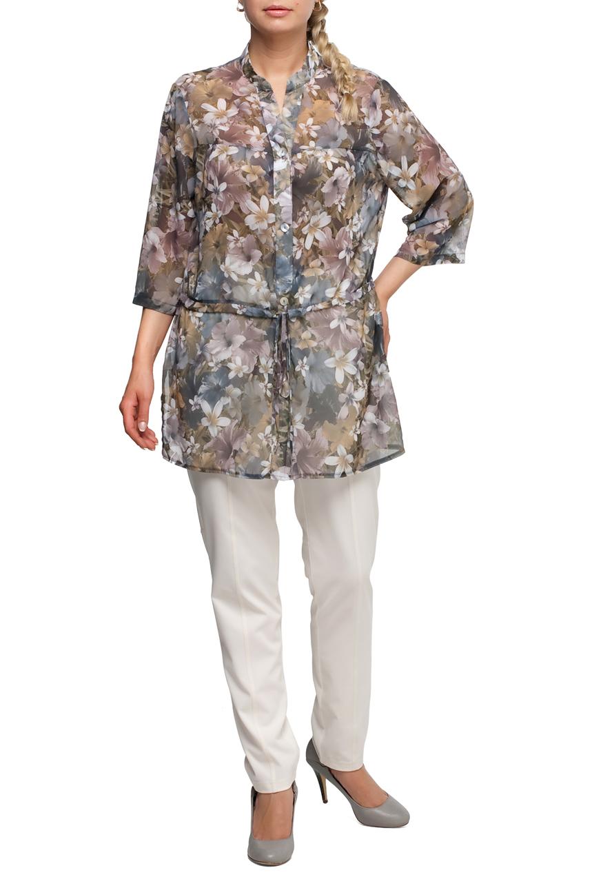БлузкаБлузки<br>Яркая блузка с рукавами 3/4. Модель выполнена из приятного материала. Отличный выбор для любого случая.  В изделии использованы цвета: серый, бежевый и др.  Рост девушки-фотомодели 173 см.<br><br>Горловина: V- горловина,Фигурная горловина<br>По материалу: Блузочная ткань,Тканевые<br>По рисунку: Растительные мотивы,С принтом,Цветные,Цветочные<br>По сезону: Весна,Зима,Лето,Осень,Всесезон<br>По силуэту: Прямые<br>По стилю: Повседневный стиль<br>По элементам: С поясом<br>Рукав: Рукав три четверти<br>Размер : 50,52,60<br>Материал: Блузочная ткань<br>Количество в наличии: 3