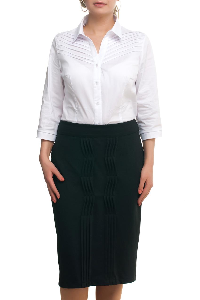БлузкаРубашки<br>Классическая рубашка из приятного материала. Отличный выбор для повседневного и делового гардероба.  В изделии использованы цвета: белый  Рост девушки-фотомодели 173 см.<br><br>Воротник: Рубашечный<br>Горловина: V- горловина<br>Застежка: С пуговицами<br>По материалу: Хлопок<br>По рисунку: Однотонные<br>По сезону: Весна,Зима,Лето,Осень,Всесезон<br>По силуэту: Приталенные<br>По стилю: Классический стиль,Офисный стиль,Повседневный стиль<br>По элементам: С декором<br>Рукав: Рукав три четверти<br>Размер : 52,56,58,62<br>Материал: Хлопок<br>Количество в наличии: 4