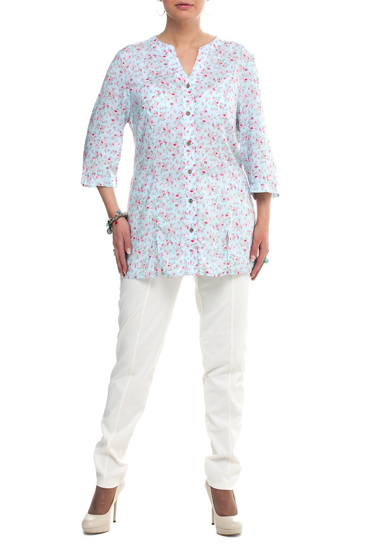 БлузкаБлузки<br>Удлиненная блузка прямого силуэта. Модель выполнена из хлопкового материала. Отличный выбор для повседневного гардероба.   В изделии использованы цвета: голубой, розовый и др.  Рост девушки-фотомодели 173 см.<br><br>Горловина: Фигурная горловина<br>Застежка: С пуговицами<br>По материалу: Хлопок<br>По рисунку: Растительные мотивы,С принтом,Цветные,Цветочные<br>По сезону: Весна,Зима,Лето,Осень,Всесезон<br>По силуэту: Прямые<br>По стилю: Повседневный стиль<br>Рукав: Рукав три четверти<br>Размер : 52,56,58,62,64<br>Материал: Хлопок<br>Количество в наличии: 6