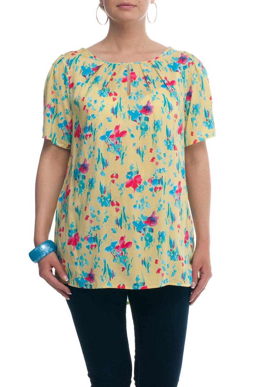 БлузкаБлузки<br>Универсальная блузка с круглой горловиной и короткими рукавами. Модель выполнена из приятного материала. Отличный выбор для любого случая.  В изделии использованы цвета: желтый, розовый, голубой  Рост девушки-фотомодели 173 см.<br><br>Горловина: С- горловина<br>По материалу: Хлопок<br>По рисунку: Растительные мотивы,С принтом,Цветные,Цветочные<br>По сезону: Весна,Зима,Лето,Осень,Всесезон<br>По силуэту: Полуприталенные<br>По стилю: Летний стиль,Повседневный стиль<br>По элементам: С вырезом<br>Рукав: До локтя<br>Размер : 52,54,56<br>Материал: Хлопок<br>Количество в наличии: 3