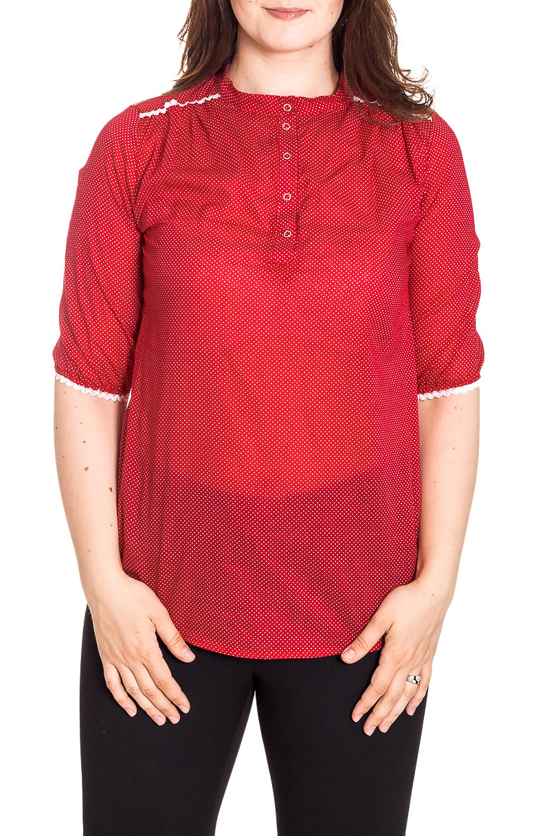 РубашкаРубашки<br>Чудесная рубашка с рукавами до локтя. Модель выполнена из хлопкового материала. Отличный выбор для повседневного гардероба.  Цвет: красный, белый  Рост девушки-фотомодели 180 см<br><br>Застежка: С пуговицами<br>По материалу: Тканевые,Хлопок<br>По образу: Город,Свидание<br>По рисунку: В горошек,С принтом,Цветные<br>По сезону: Весна,Зима,Лето,Осень,Всесезон<br>По силуэту: Полуприталенные<br>По стилю: Винтаж,Повседневный стиль<br>По элементам: С декором<br>Рукав: До локтя<br>Размер : 50,52,54<br>Материал: Блузочная ткань<br>Количество в наличии: 3