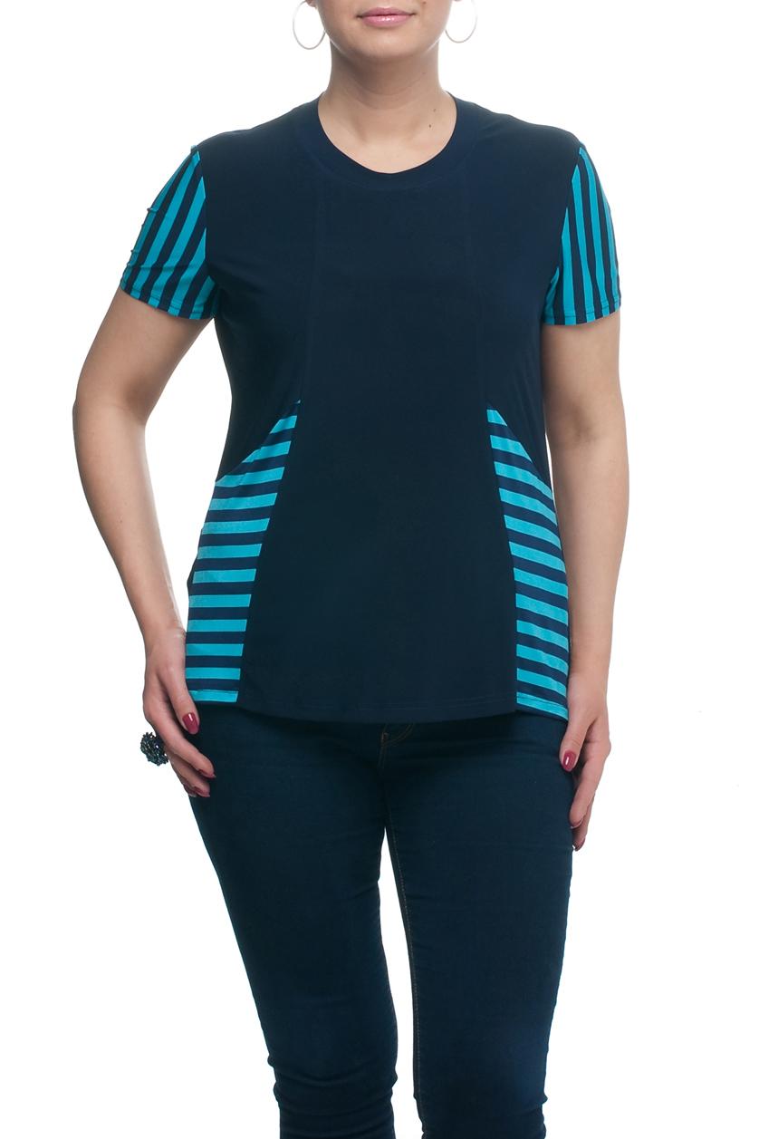 БлузкаБлузки<br>Универсальная блузка с круглой горловиной и короткими рукавами. Модель выполнена из приятного материала. Отличный выбор для любого случая.  В изделии использованы цвета: синий, бирюзовый  Рост девушки-фотомодели 173 см.<br><br>Горловина: С- горловина<br>По материалу: Трикотаж<br>По рисунку: В полоску,С принтом,Цветные<br>По сезону: Весна,Зима,Лето,Осень,Всесезон<br>По силуэту: Полуприталенные<br>По стилю: Повседневный стиль<br>Рукав: Короткий рукав<br>Размер : 48,50,52,54,56,58,60,62,64,66,68,70<br>Материал: Холодное масло<br>Количество в наличии: 12