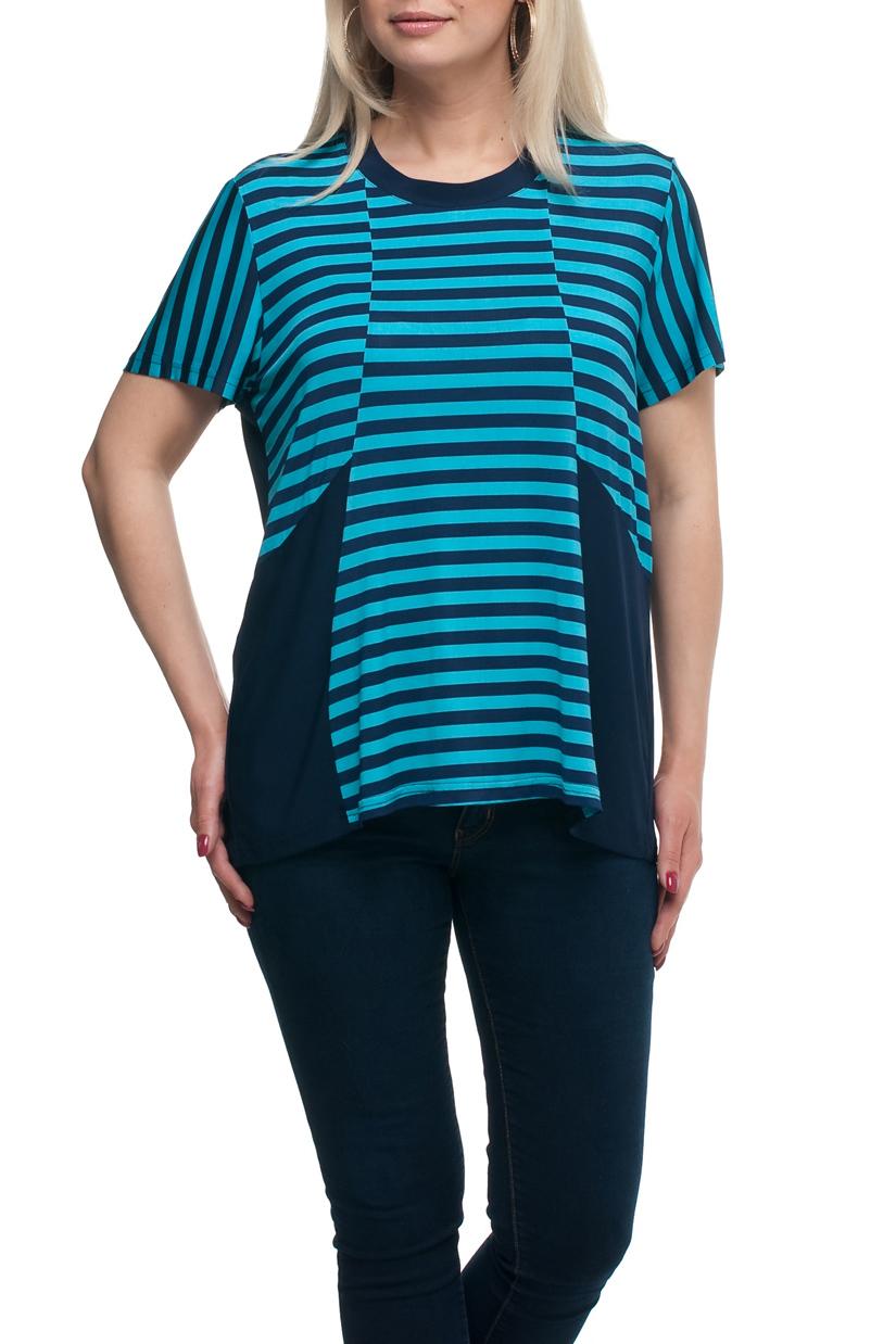 БлузкаБлузки<br>Универсальная блузка с круглой горловиной и короткими рукавами. Модель выполнена из приятного материала. Отличный выбор для любого случая.  В изделии использованы цвета: синий, голубой  Рост девушки-фотомодели 173 см.<br><br>Горловина: С- горловина<br>По материалу: Трикотаж<br>По рисунку: В полоску,С принтом,Цветные<br>По сезону: Весна,Зима,Лето,Осень,Всесезон<br>По силуэту: Полуприталенные<br>По стилю: Повседневный стиль<br>Рукав: Короткий рукав<br>Размер : 56,58<br>Материал: Холодное масло<br>Количество в наличии: 4