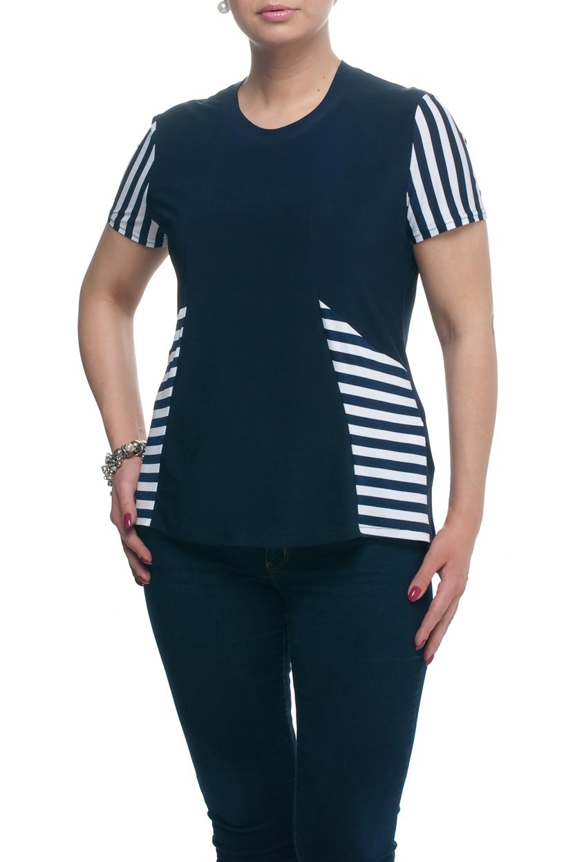 БлузкаБлузки<br>Универсальная блузка с круглой горловиной и короткими рукавами. Модель выполнена из приятного материала. Отличный выбор для любого случая.  В изделии использованы цвета: синий, белый  Рост девушки-фотомодели 173 см.<br><br>Горловина: С- горловина<br>По материалу: Трикотаж<br>По рисунку: В полоску,С принтом,Цветные<br>По сезону: Весна,Зима,Лето,Осень,Всесезон<br>По силуэту: Полуприталенные<br>По стилю: Повседневный стиль<br>Рукав: Короткий рукав<br>Размер : 56,58<br>Материал: Холодное масло<br>Количество в наличии: 3