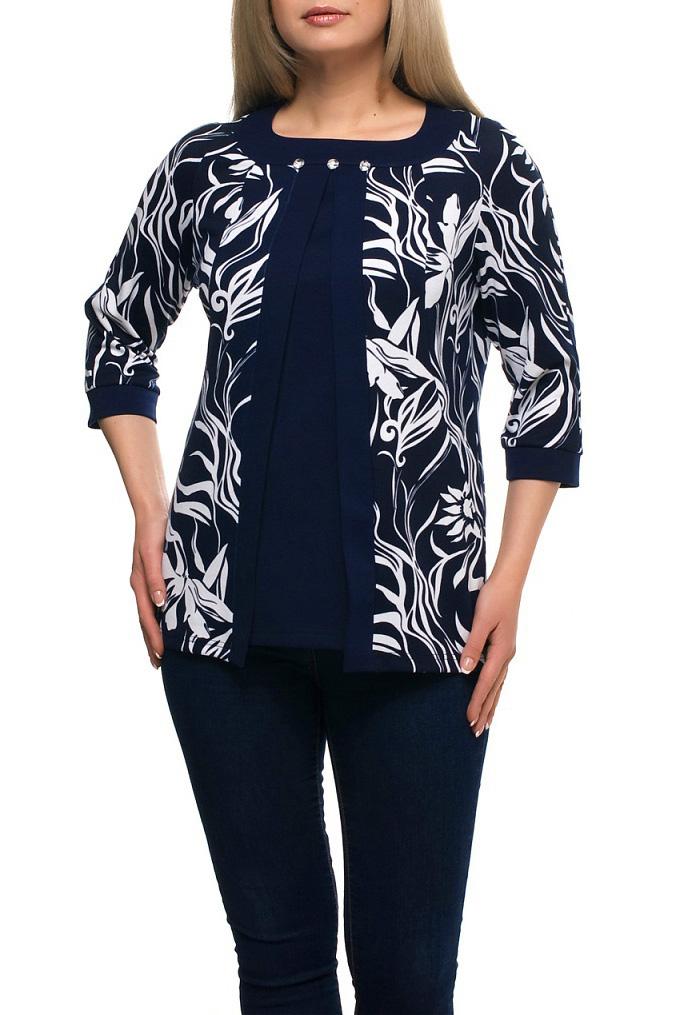 БлузкаБлузки<br>Чудесная блузка с имитацией накидки. Модель выполнена из приятного материала. Отличный выбор для любого случая.  В изделии использованы цвета: синий, белый  Рост девушки-фотомодели 173 см.<br><br>Горловина: С- горловина<br>По материалу: Трикотаж<br>По рисунку: Растительные мотивы,С принтом,Цветные,Цветочные<br>По сезону: Весна,Зима,Лето,Осень,Всесезон<br>По силуэту: Полуприталенные<br>По стилю: Повседневный стиль<br>По элементам: С декором,С манжетами<br>Рукав: Рукав три четверти<br>Размер : 48,52,60,66<br>Материал: Трикотаж<br>Количество в наличии: 4