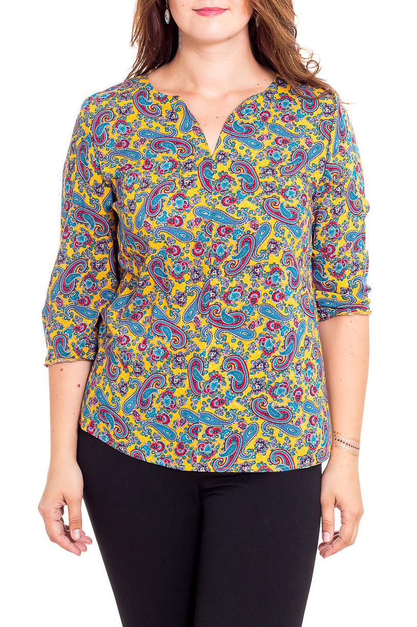 БлузкаБлузки<br>Цветная блузка с V-образной горловиной и рукавами 3/4. Модель выполнена из приятного материала. Отличный выбор для повседневного гардероба.  В изделии использованы цвета: желтый, голубой, фиолетовый и др.  Рост девушки-фотомодели 180 см.<br><br>Горловина: V- горловина<br>По материалу: Вискоза<br>По рисунку: С принтом,Цветные,Этнические<br>По сезону: Весна,Зима,Лето,Осень,Всесезон<br>По силуэту: Полуприталенные<br>По стилю: Повседневный стиль<br>Рукав: Рукав три четверти<br>Размер : 48,50,52,54<br>Материал: Вискоза<br>Количество в наличии: 8