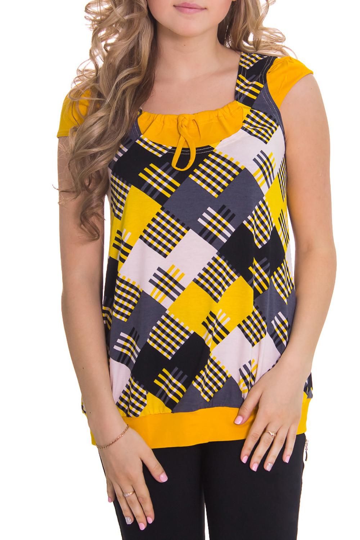 ФутболкаФутболки<br>Женская футболка с круглой горловиной и короткими рукавами. Модель выполнена из мягкой вискозы. Отличный выбор для повседневного гардероба.  Цвет: желтый, серый, черный  Рост девушки-фотомодели 164 см<br><br>По материалу: Вискоза<br>По рисунку: Цветные,Геометрия,С принтом<br>По сезону: Весна,Лето,Зима,Осень,Всесезон<br>Рукав: Короткий рукав<br>По длине: Удлиненные<br>По силуэту: Полуприталенные<br>Размер : 42<br>Материал: Вискоза<br>Количество в наличии: 1