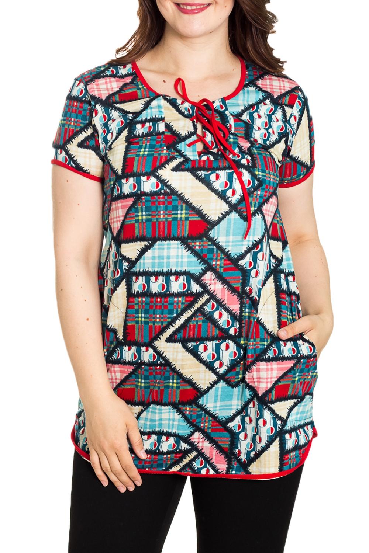 ТуникаТуники<br>Домашняя туника с круглой горловиной и короткими рукавами. Домашняя одежда, прежде всего, должна быть удобной, практичной и красивой. В тунике Вы будете чувствовать себя комфортно, особенно, по вечерам после трудового дня.  Цвет: мультицвет  Рост девушки-фотомодели 180 см.<br><br>Горловина: С- горловина<br>По рисунку: Цветные,С принтом<br>По сезону: Весна,Зима,Лето,Осень,Всесезон<br>По силуэту: Полуприталенные<br>Рукав: Короткий рукав<br>По элементам: С завязками<br>По материалу: Хлопок<br>Размер : 44,46,48<br>Материал: Хлопок<br>Количество в наличии: 3