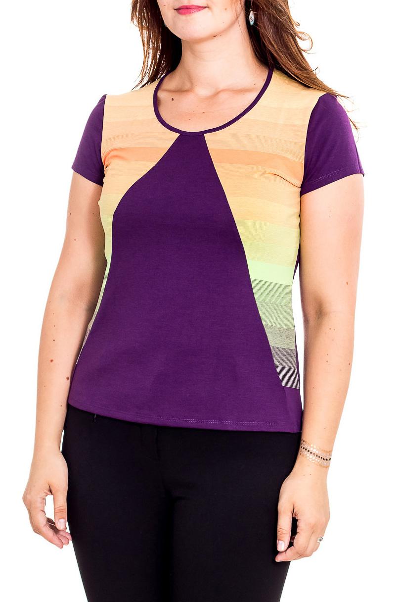 БлузкаБлузки<br>Красивая блузка с круглой горловиной и короткими рукавами. Модель выполнена из приятного трикотажа. Отличный выбор для повседневного гардероба.  В изделии использованы цвета: фиолетовый, желтый и др.  Рост девушки-фотомодели 180 см.<br><br>Горловина: С- горловина<br>По материалу: Вискоза,Трикотаж<br>По рисунку: Цветные<br>По сезону: Всесезон,Зима,Лето,Осень,Весна<br>По силуэту: Приталенные<br>По стилю: Повседневный стиль<br>Рукав: Короткий рукав<br>Размер : 46,48,50,52<br>Материал: Трикотаж<br>Количество в наличии: 8