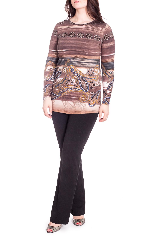 ДжемперБлузки<br>Цветной джемпер с длинными рукавами. Модель выполнена из приятного трикотажа. Отличный выбор для повседневного гардероба.  В изделии использованы цвета: коричневый, бежевый и др.  Рост девушки-фотомодели 180 см.<br><br>Горловина: С- горловина<br>По материалу: Вискоза,Трикотаж<br>По рисунку: В полоску,С принтом,Цветные,Этнические<br>По сезону: Весна,Зима,Лето,Осень,Всесезон<br>По силуэту: Приталенные<br>По стилю: Повседневный стиль<br>Рукав: Длинный рукав<br>Размер : 46,50,56<br>Материал: Трикотаж<br>Количество в наличии: 5