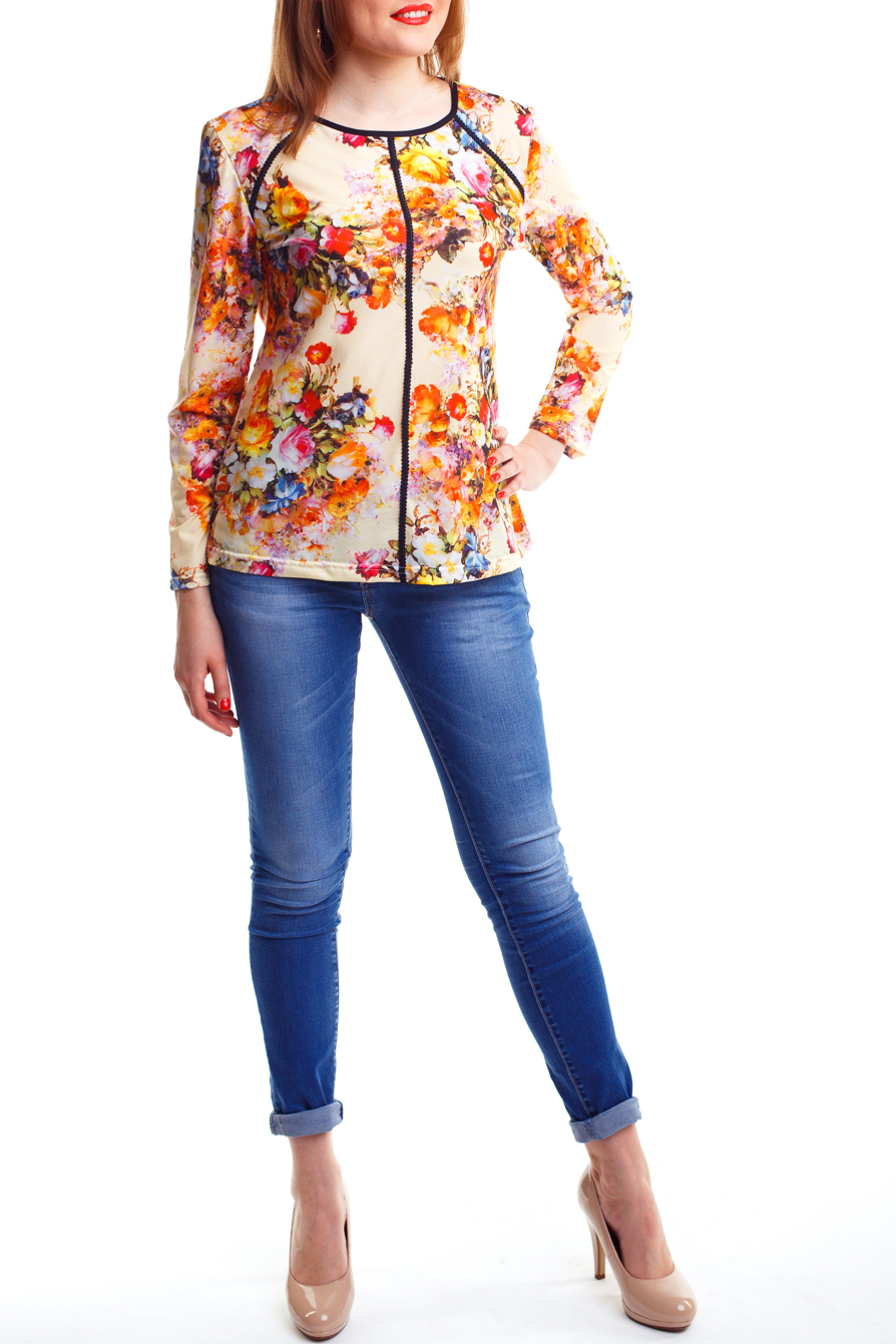 БлузкаБлузки<br>Яркая женственная блузка из струящегося шифона. Округлая горловина. Длинный рукав. Цвет: на желто-бежевом фоне цветочный принт.<br><br>Горловина: С- горловина<br>По рисунку: Растительные мотивы,Цветные,Цветочные<br>По сезону: Весна,Всесезон,Зима,Лето,Осень<br>Рукав: Длинный рукав<br>По материалу: Шифон<br>По стилю: Повседневный стиль<br>По силуэту: Полуприталенные<br>Размер : 44-46<br>Материал: Шифон<br>Количество в наличии: 1