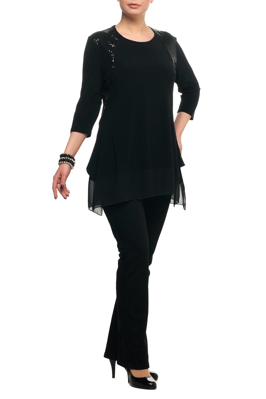 ТуникаТуники<br>Нарядная туника с круглой горловиной и рукавами 3/4. Модель выполнена из струящегося трикотажа с подолом из воздушного шифона. Отличный выбор для любого торжества.   В изделии использованы цвета: черный  Рост девушки-фотомодели 173 см.<br><br>Горловина: С- горловина<br>По материалу: Трикотаж,Шифон<br>По рисунку: Однотонные<br>По сезону: Весна,Зима,Лето,Осень,Всесезон<br>По силуэту: Полуприталенные<br>По стилю: Нарядный стиль<br>По элементам: С декором,С фигурным низом<br>Рукав: Рукав три четверти<br>Размер : 48,56,64,66<br>Материал: Холодное масло + Шифон<br>Количество в наличии: 4