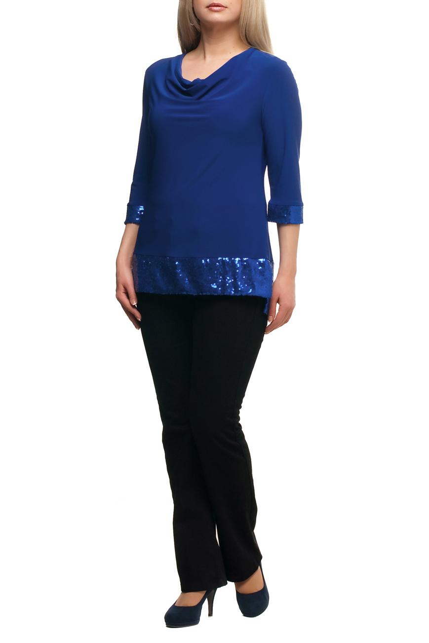 БлузкаБлузки<br>Нарядная блузка с горловиной quot;качельquot; и рукавами 3/4. Модель выполнена из приятного трикотажа с декором из пайеток. Отличный выбор для любого торжества.  В изделии использованы цвета: синий  Рост девушки-фотомодели 173 см.<br><br>Горловина: Качель<br>По материалу: Трикотаж<br>По рисунку: Однотонные<br>По сезону: Весна,Зима,Лето,Осень,Всесезон<br>По силуэту: Полуприталенные<br>По стилю: Вечерний стиль,Нарядный стиль<br>По элементам: С декором,С манжетами,С фигурным низом<br>Рукав: Рукав три четверти<br>Размер : 48,50,52,54,56,58,60,62,64,66,68,70<br>Материал: Холодное масло<br>Количество в наличии: 12