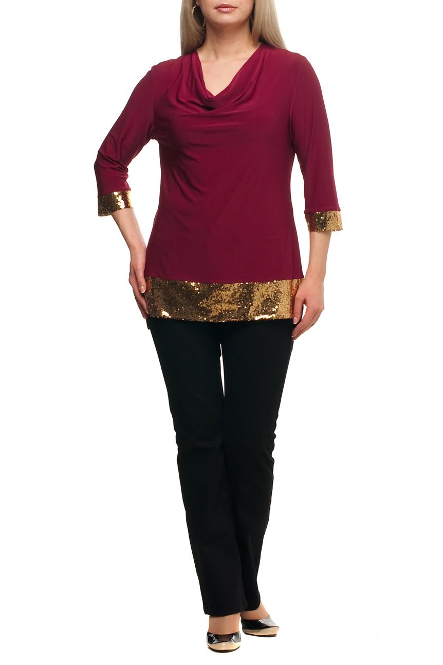 БлузкаБлузки<br>Нарядная блузка с горловиной quot;качельquot; и рукавами 3/4. Модель выполнена из приятного трикотажа с декором из пайеток. Отличный выбор для любого торжества.  В изделии использованы цвета: бордовый, золотой  Рост девушки-фотомодели 173 см.<br><br>Горловина: Качель<br>По материалу: Трикотаж<br>По рисунку: Цветные<br>По сезону: Весна,Зима,Лето,Осень,Всесезон<br>По силуэту: Полуприталенные<br>По стилю: Вечерний стиль,Нарядный стиль<br>По элементам: С декором,С манжетами,С фигурным низом<br>Рукав: Рукав три четверти<br>Размер : 48,50,52,54,56,58,60,62,64,66,68,70<br>Материал: Холодное масло<br>Количество в наличии: 12