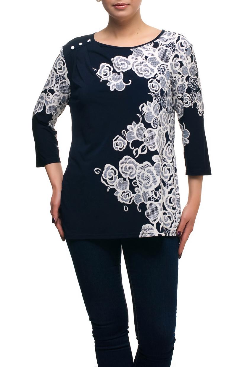 БлузкаБлузки<br>Красивая блузка с декором на плече и рукавами 3/4. Модель выполнена из приятного трикотажа. Отличный выбор для любого случая.   В изделии использованы цвета: темно-синий, белый  Рост девушки-фотомодели 173 см.<br><br>Горловина: С- горловина<br>По материалу: Трикотаж<br>По рисунку: Растительные мотивы,С принтом,Цветные,Цветочные<br>По сезону: Весна,Зима,Лето,Осень,Всесезон<br>По силуэту: Полуприталенные<br>По стилю: Повседневный стиль<br>По элементам: С декором<br>Рукав: Рукав три четверти<br>Размер : 66<br>Материал: Холодное масло<br>Количество в наличии: 2