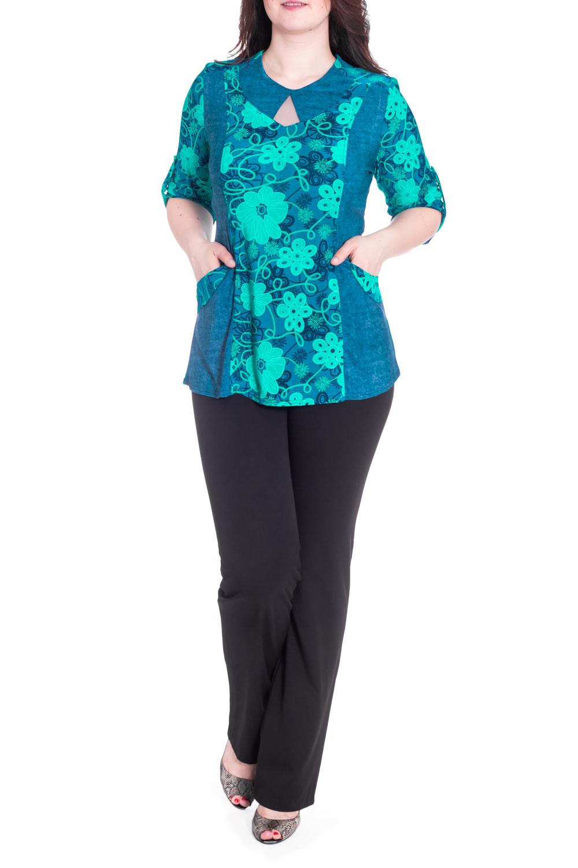 БлузкаБлузки<br>Цветная блузка приталенного силуэта с декором у горловины. Модель выполнена из приятного трикотажа. Отличный выбор для повседневного гардероба.  В изделии использованы цвета: синий, бирюзовый  Рост девушки-фотомодели 180 см.<br><br>Горловина: С- горловина<br>По материалу: Трикотаж<br>По рисунку: Растительные мотивы,С принтом,Цветные,Цветочные<br>По сезону: Весна,Зима,Лето,Осень,Всесезон<br>По силуэту: Приталенные<br>По стилю: Повседневный стиль<br>По элементам: С декором,С карманами,С патами<br>Рукав: Рукав три четверти<br>Размер : 52,56,58,60<br>Материал: Холодное масло<br>Количество в наличии: 4