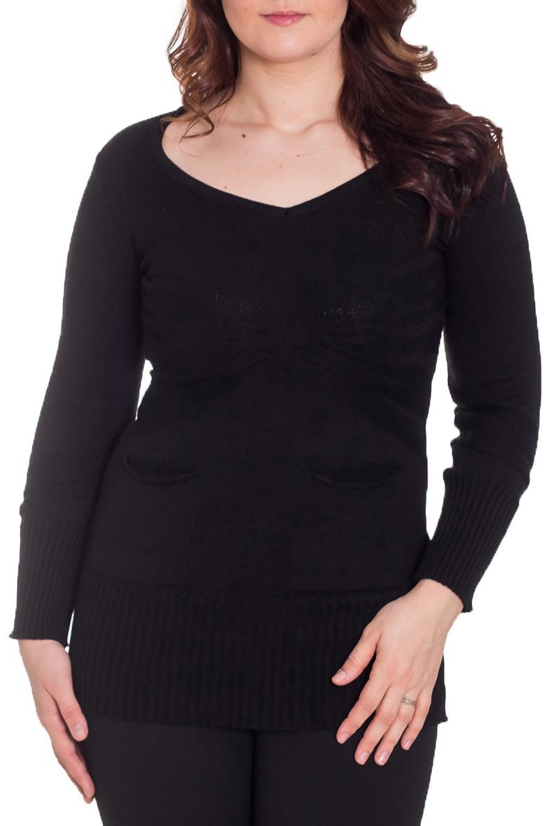 ТуникаТуники<br>Классическая женская туника приталенного силуэта из приятного вязаного полотна. Модель станет идеальным дополнением к Вашему повседневному гардеробу. Длинный рукав. Цвет: черный.  Рост девушки-фотомодели 180 см<br><br>Горловина: V- горловина<br>Рукав: Длинный рукав<br>Материал: Вязаные,Хлопок<br>Рисунок: Однотонные<br>Сезон: Весна,Зима,Осень<br>Силуэт: Полуприталенные<br>Стиль: Классический стиль,Кэжуал,Офисный стиль,Повседневный стиль<br>Элементы: С вырезом<br>Размер : 42<br>Материал: Вязаное полотно<br>Количество в наличии: 1