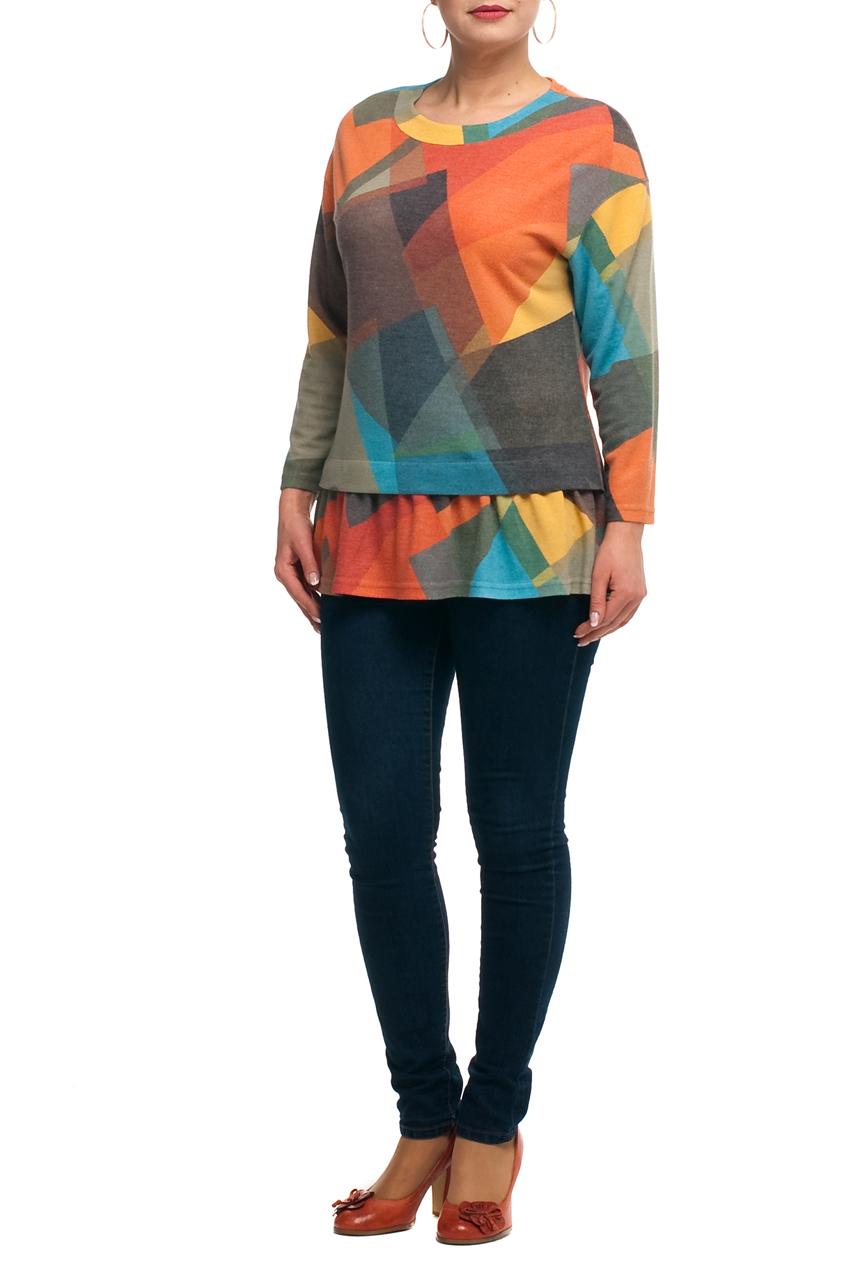 БлузкаБлузки<br>Цветная блузка с круглой горловиной и длинными рукавами. Модель выполнена из приятного трикотажа. Отличный выбор для любого случая.  Длина изделия в 66 размере 76 см.  В изделии использованы цвета: зеленый, оранжевый и др.  Рост девушки-фотомодели 173 см.<br><br>Горловина: С- горловина<br>По материалу: Трикотаж<br>По рисунку: Абстракция,Цветные<br>По сезону: Весна,Зима,Лето,Осень,Всесезон<br>По силуэту: Полуприталенные<br>По стилю: Повседневный стиль<br>Рукав: Длинный рукав<br>Размер : 50,52,54,58,60,62,64,66,68,70<br>Материал: Трикотаж<br>Количество в наличии: 10