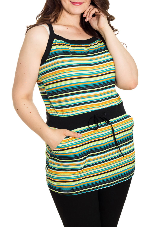 ТуникаТуники<br>Домашняя туника на бретелях. Домашняя одежда, прежде всего, должна быть удобной, практичной и красивой. В тунике Вы будете чувствовать себя комфортно, особенно, по вечерам после трудового дня.  Цвет: мультицвет  Рост девушки-фотомодели 180 см.<br><br>По длине: Удлиненные<br>По рисунку: В полоску,Цветные<br>По сезону: Весна,Зима,Лето,Осень,Всесезон<br>По силуэту: Полуприталенные<br>По элементам: С карманами,С завязками<br>Рукав: Без рукавов<br>По материалу: Хлопок<br>Размер : 50<br>Материал: Хлопок<br>Количество в наличии: 1