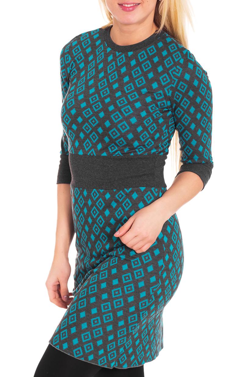 ТуникаТуники<br>Удобная туника с круглой горловиной и рукавами 3/4. Модель выполнена из мягкого трикотажа. Отличный выбор для повседневного гардероба.  Цвет: серый, голубой  Рост девушки-фотомодели 170 см.<br><br>Горловина: С- горловина<br>По материалу: Вискоза,Трикотаж<br>По рисунку: Геометрия,Цветные,С принтом<br>По сезону: Весна,Осень<br>По силуэту: Приталенные<br>По стилю: Повседневный стиль<br>Рукав: Рукав три четверти<br>Размер : 44<br>Материал: Трикотаж<br>Количество в наличии: 4