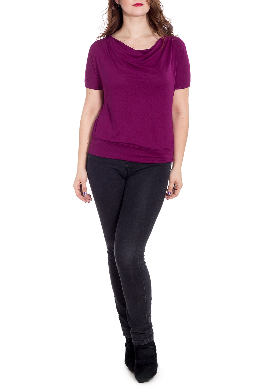 БлузкаБлузки<br>Однотонная блузка с короткими рукавами и горловиной качель. Модель выполнена из мягкой вискозы. Отличный выбор для повседневного гардероба. Ростовка изделия 164 см.  В изделии использованы цвета: фиолетовый  Рост девушки-фотомодели 180 см<br><br>Горловина: Качель<br>По материалу: Вискоза<br>По образу: Город,Свидание<br>По рисунку: Однотонные<br>По сезону: Весна,Зима,Лето,Осень,Всесезон<br>По силуэту: Полуприталенные<br>По стилю: Повседневный стиль<br>Рукав: Короткий рукав<br>Размер : 46,48,50,52,54,56,58,60<br>Материал: Вискоза<br>Количество в наличии: 8