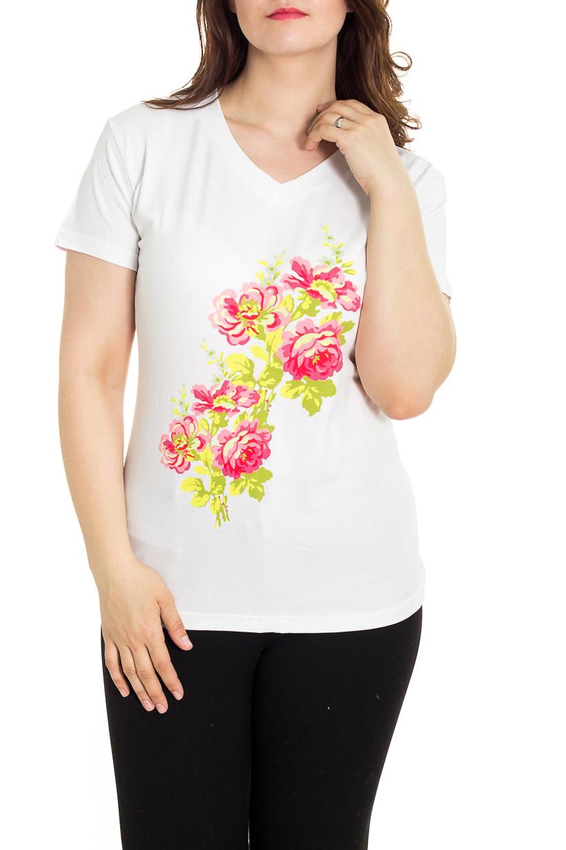 ФутболкаФутболки<br>Универсальная футболка с V-образной горловиной. Модель выполнена из хлопкового материала. Отличный выбор для базового гардероба.  Цвет: белый, розовый, желтый  Рост девушки-фотомодели 180 см<br><br>Горловина: V- горловина<br>По материалу: Трикотаж,Хлопок<br>По рисунку: Однотонные,С принтом<br>По сезону: Весна,Зима,Лето,Осень,Всесезон<br>По силуэту: Полуприталенные<br>По стилю: Повседневный стиль,Летний стиль<br>Рукав: Короткий рукав<br>Размер : 48<br>Материал: Трикотаж<br>Количество в наличии: 1
