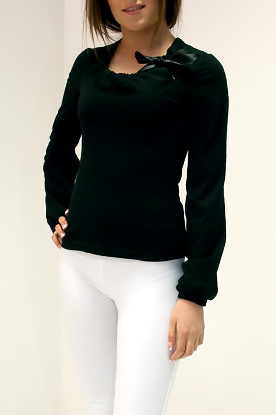 БлузкаБлузки<br>Французский шарм и городская романтика представлены в этой очаровательной женственной модели. Изделие с глубоким округлым вырезом горловины и длинными рукавами. Бант оформленный из атласа придает особую изюминку изделию. Модель выполнена из 100% вискозы. В одежде из вискозной ткани летом очень комфортно и совсем не жарко, потому что материал имеет свойства хорошо пропускать воздух и быстро сохнуть.  Цвет: черный  Ростовка изделия 170 см.<br><br>Горловина: С- горловина<br>По материалу: Вискоза,Трикотаж<br>По образу: Город,Свидание<br>По рисунку: Однотонные<br>По сезону: Весна,Зима,Лето,Осень,Всесезон<br>По силуэту: Полуприталенные<br>По стилю: Повседневный стиль<br>По элементам: С декором,С манжетами<br>Рукав: Длинный рукав<br>Размер : 48<br>Материал: Трикотаж<br>Количество в наличии: 1