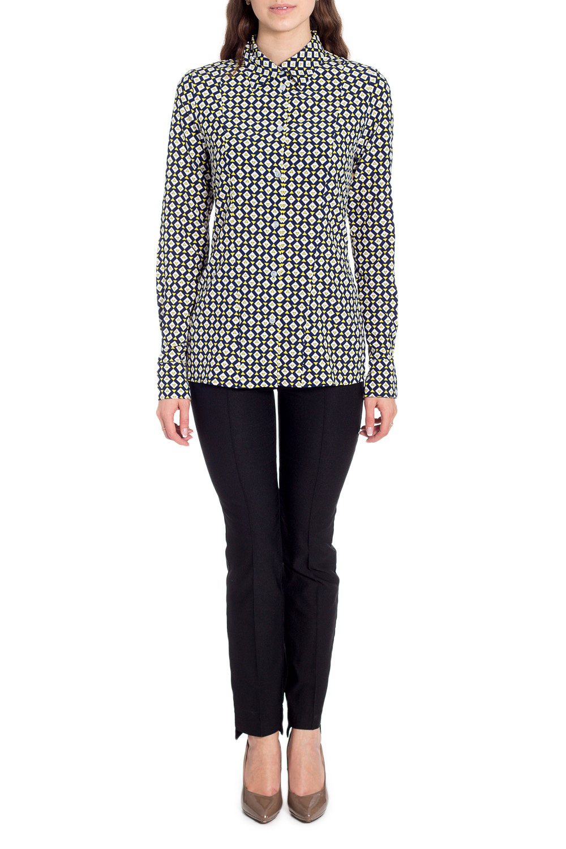 БлузкаРубашки<br>Цветная блузка с длинными рукавами. Модель выполнена из приятного материала. Отличный выбор для любого случая.  В изделии использованы цвета: голубой, синий и др.  Рост девушки-фотомодели 170 см<br><br>Воротник: Рубашечный<br>Застежка: С пуговицами<br>По материалу: Вискоза,Тканевые<br>По образу: Город<br>По рисунку: С принтом,Цветные<br>По сезону: Весна,Зима,Лето,Осень,Всесезон<br>По силуэту: Полуприталенные<br>По стилю: Повседневный стиль<br>По элементам: С манжетами<br>Рукав: Длинный рукав<br>Размер : 44,46,48,50,52<br>Материал: Искусственный шелк<br>Количество в наличии: 5