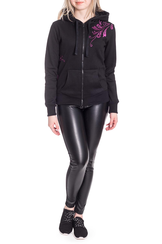 ТолстовкаКофты<br>Уютная толстовка с длинными рукавами, застежкой на молнию и принтом. Модель выполнена из приятного трикотажа. Отличный выбор для повседневного гардероба.  В изделии использованы цвета: черный, розовый  Рост девушки-фотомодели 170 см<br><br>Застежка: С кнопками<br>По длине: Средней длины<br>По материалу: Трикотаж,Хлопок<br>По рисунку: Однотонные,С принтом<br>По силуэту: Полуприталенные<br>По стилю: Повседневный стиль,Спортивный стиль<br>По элементам: С капюшоном,С карманами,С манжетами<br>Рукав: Длинный рукав<br>По сезону: Осень,Весна<br>Размер : 42,44,46,48-50,52-54<br>Материал: Трикотаж<br>Количество в наличии: 5
