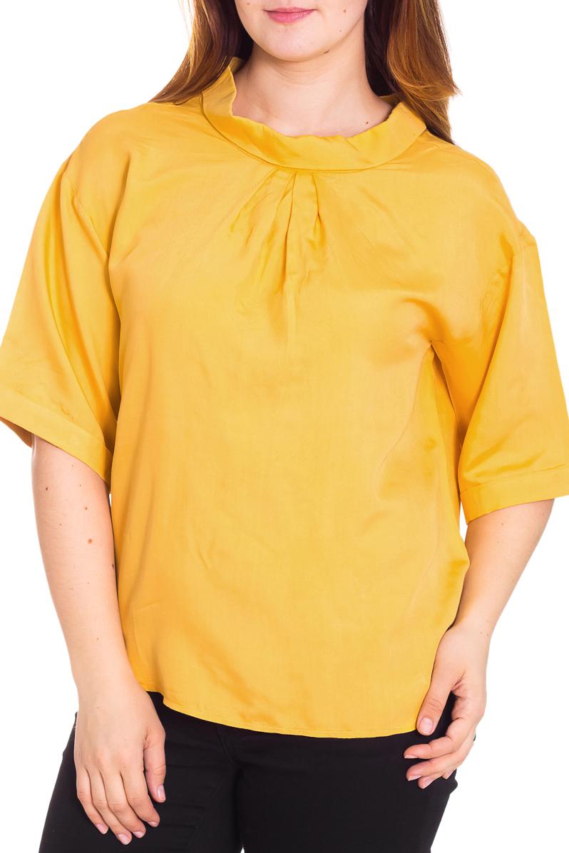 БлузкаБлузки<br>Яркая блузка с рукавами 3/4. Модель выполнена из мягкой вискозы. Отличный выбор для повседневного гардероба.  Цвет: желтый  Рост девушки-фотомодели 180 см.<br><br>Воротник: Стойка<br>По материалу: Вискоза,Трикотаж<br>По образу: Город,Свидание<br>По рисунку: Однотонные<br>По сезону: Весна,Всесезон,Зима,Лето,Осень<br>По силуэту: Свободные<br>По стилю: Повседневный стиль<br>По элементам: Со складками<br>Рукав: До локтя<br>Размер : 48,52,54,56<br>Материал: Вискоза<br>Количество в наличии: 4