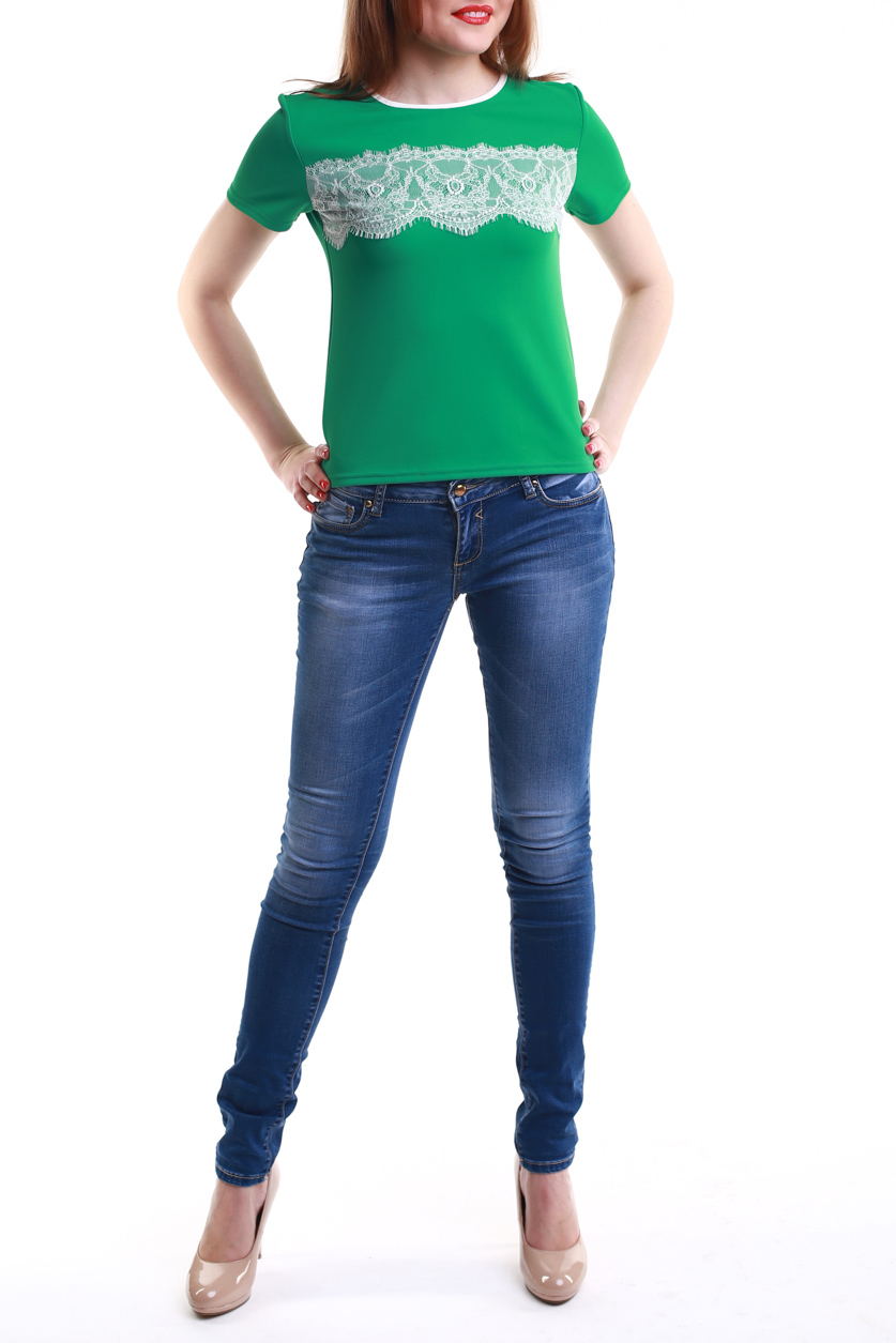 БлузкаБлузки<br>Элегантная блуза свободного прилегания с коротким рукавом. Выполнена из комфортного полотна, круглый вырез горловины обработан кантом, перед изделия декорирован изящным кружевом.   Цвет: зеленый.<br><br>Горловина: С- горловина<br>По рисунку: Однотонные<br>По сезону: Весна,Всесезон,Зима,Лето,Осень<br>По силуэту: Приталенные<br>По элементам: С декором<br>Рукав: Короткий рукав<br>По материалу: Трикотаж<br>По стилю: Летний стиль,Повседневный стиль<br>Размер : 42-44,50-52,54-56<br>Материал: Трикотаж<br>Количество в наличии: 3