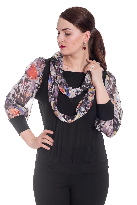 БлузкаБлузки<br>Замечательная блузка с длинными рукавами. Модель выполнена из воздушного шифона и приятного трикотажа. Отличный выбор для любого случая. Ростовка изделия 160-170 см.  Цвет: черный, серый, мультицвет  Рост девушки-фотомодели 180 см.<br><br>Горловина: С- горловина<br>По материалу: Трикотаж,Шифон<br>По образу: Город,Свидание<br>По рисунку: С принтом,Цветные<br>По сезону: Весна,Зима,Лето,Осень,Всесезон<br>По силуэту: Полуприталенные<br>По стилю: Нарядный стиль,Повседневный стиль<br>По элементам: С манжетами<br>Рукав: Длинный рукав<br>Размер : 50,54,56<br>Материал: Холодное масло + Шифон<br>Количество в наличии: 1