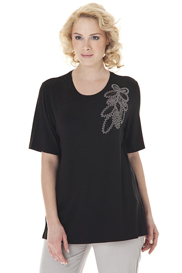 БлузкаБлузки<br>Однотонная блузка с круглой горловиной, короткими рукавами и декоративным элементом. Модель выполнена из приятного материала. Отличный выбор для любого случая.  Цвет: черный, серый  Ростовка изделия 170 см.<br><br>По образу: Город<br>По стилю: Повседневный стиль<br>По материалу: Трикотаж,Вискоза<br>По рисунку: Однотонные<br>По сезону: Зима,Лето,Осень,Всесезон,Весна<br>По силуэту: Свободные<br>По элементам: С декором<br>Рукав: Короткий рукав<br>Горловина: С- горловина<br>Размер: 46-48,54-56<br>Материал: 96% вискоза 4% эластан<br>Количество в наличии: 1