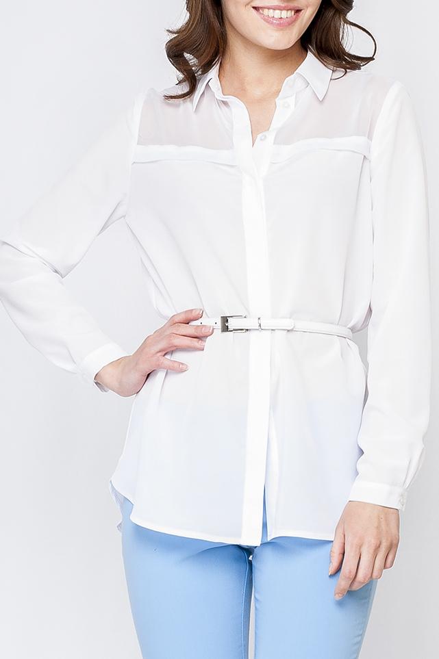 БлузкаБлузки<br>Удлиненная блузка с длинными рукавами. Блузка без пояса.  Параметры изделия:  44 размер: обхват по линии груди 104 см, обхват по линии бедер 107 см, длина изделия - 75 см, длина рукава - 58,5 см; 52 размер: обхват по линии груди 120 см, обхват по линии бедер 123 см, длина изделия - 78 см, длина рукава - 59,5 см  Цвет: белый  Рост девушки-фотомодели 170 см<br><br>Воротник: Рубашечный<br>Застежка: С пуговицами<br>По материалу: Шифон<br>По рисунку: Однотонные<br>По сезону: Весна,Зима,Лето,Осень,Всесезон<br>По силуэту: Свободные<br>По стилю: Офисный стиль,Повседневный стиль,Классический стиль<br>По элементам: С манжетами<br>Рукав: Длинный рукав<br>Размер : 42<br>Материал: Шифон<br>Количество в наличии: 1