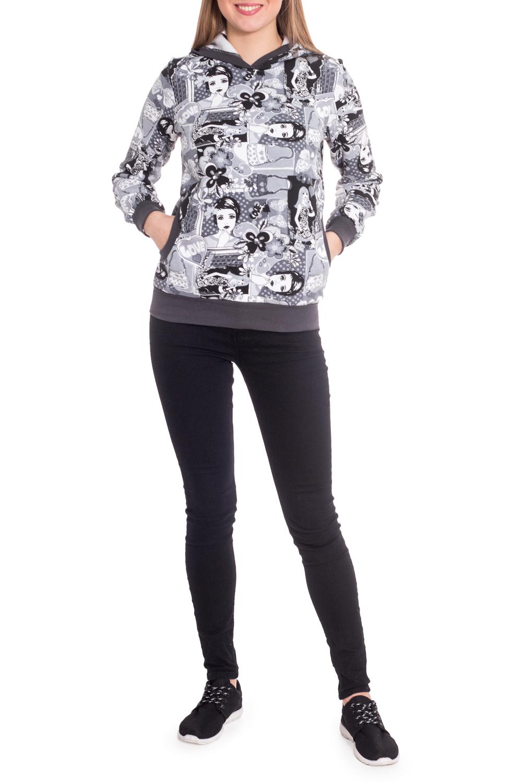 ТолстовкаТолстовки<br>Уютная толстовка с капюшоном и длинными рукавами с манжетами. Молель выполнена из плотного трикотажа. Отличный выбор для повседневного гардероба.  В изделии использованы цвета: белый, серый, черный  Рост девушки-фотомодели 170 см.<br><br>По материалу: Трикотаж,Хлопок<br>По рисунку: С принтом,Цветные<br>По силуэту: Полуприталенные<br>По стилю: Повседневный стиль,Спортивный стиль<br>По элементам: С капюшоном,С карманами,С манжетами<br>Рукав: Длинный рукав<br>По сезону: Осень,Весна<br>Размер : 42<br>Материал: Трикотаж<br>Количество в наличии: 1